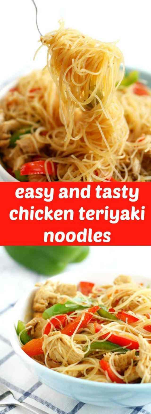 Easy and tasty chicken teriyaki noodles make a wonderfully fast week night dinner!