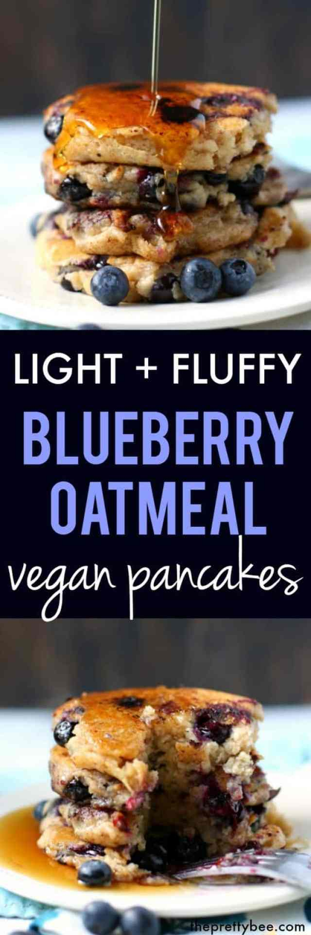easy vegan blueberry oatmeal pancakes