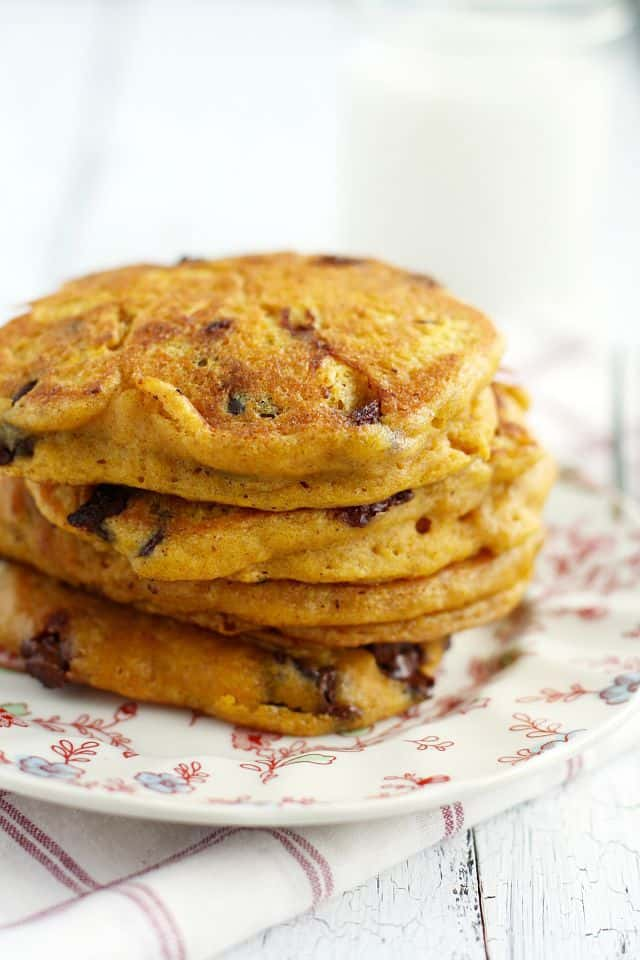 YUM! Vegan chocolate chip pumpkin pancakes...these are my favorite pancakes! So easy to make and just right for autumn weekends!