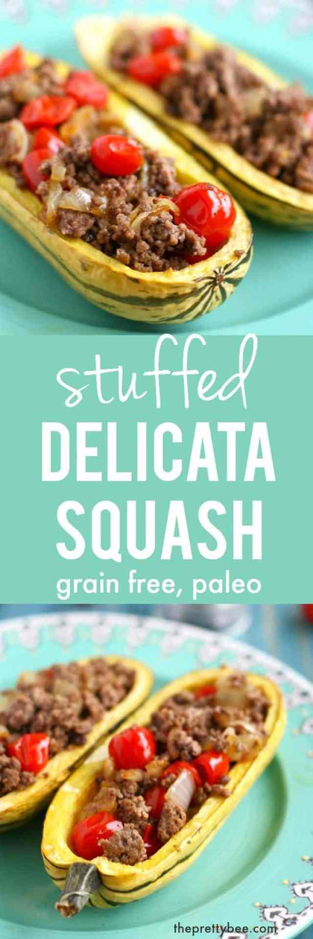 This stuffed delicata squash recipe is gluten free, grain free, and paleo friendly! Delicious and healthy.