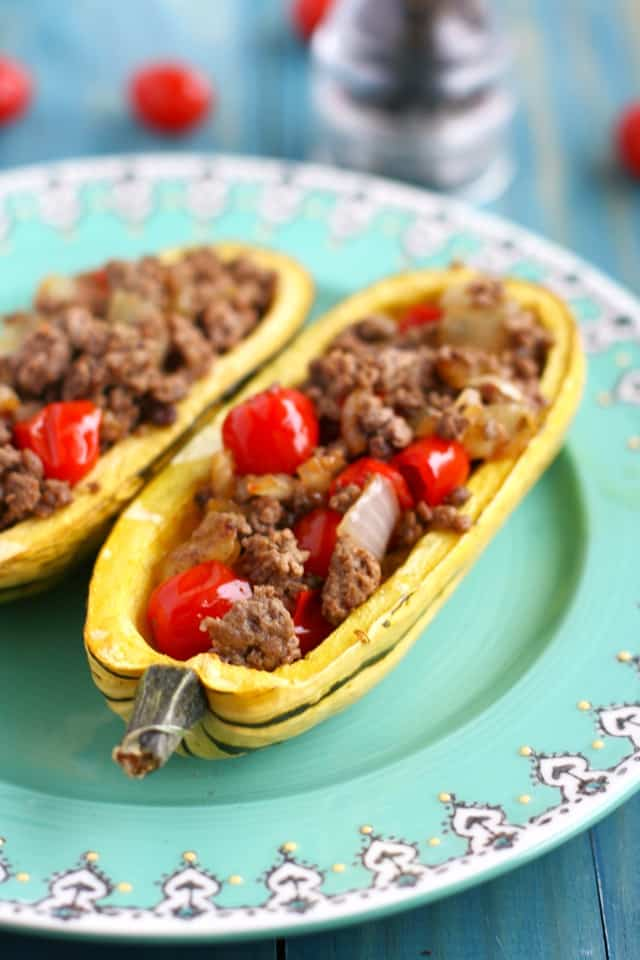 My favorite squash recipe - stuffed delicata squash with ground turkey and tomatoes. Easy and healthy!