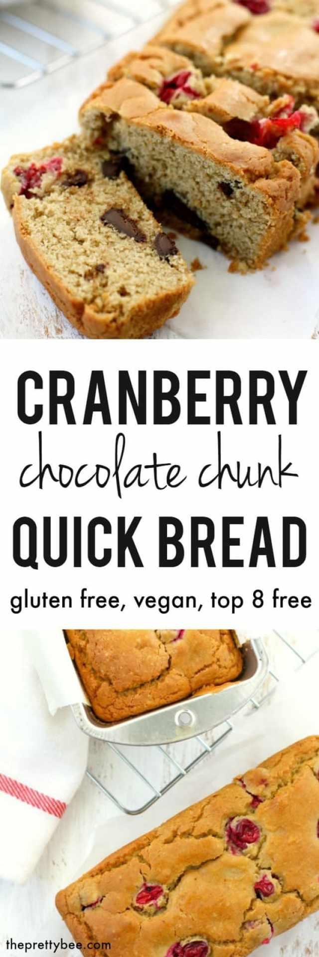 gluten free cranberry chocolate chip quick bread