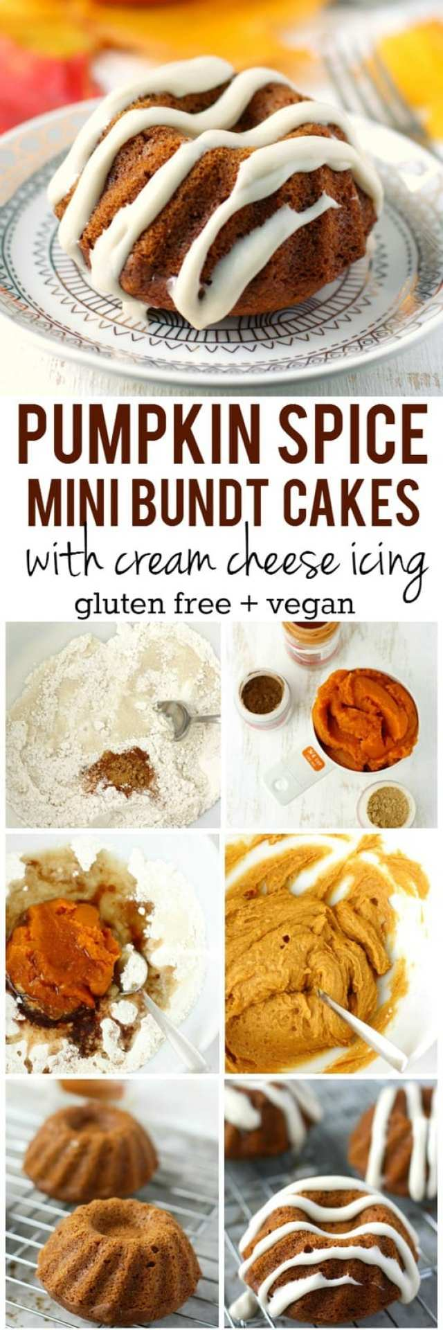 These pumpkin spice mini bundt cakes are so delicious - the sweet cream cheese glaze is the perfect finishing touch! These are perfect for Thanksgiving! #vegan #glutenfree AD #shop