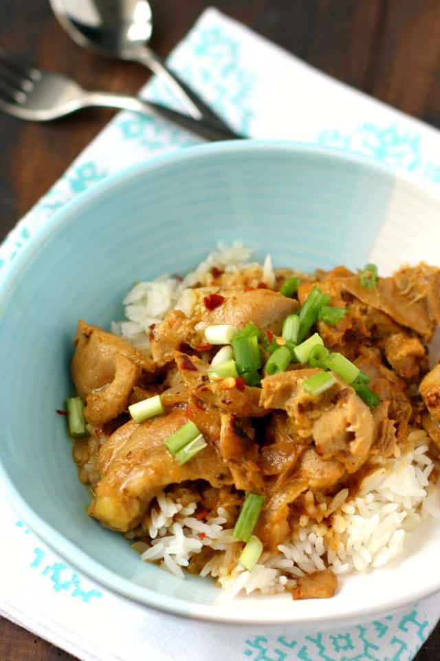 An easy, comforting, delicious recipe for dairy free chicken coconut curry. The perfect wintertime dinner!