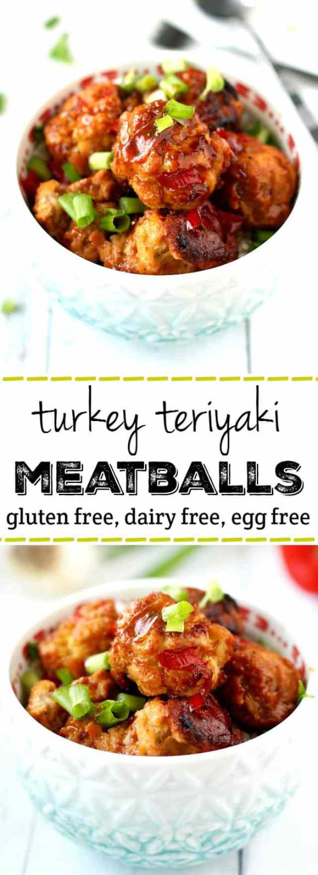 Turkey teriyaki meatballs are full of flavor and are perfect for a family friendly dinner! Gluten free and egg free.