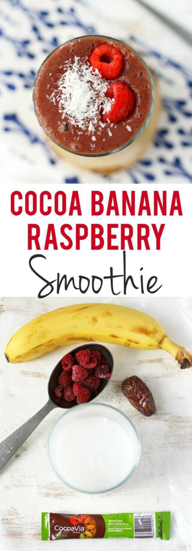 A delicious cocoa banana raspberry smoothie will get your day off to a great start! #dairyfree #heartmonth #ad #glutenfree