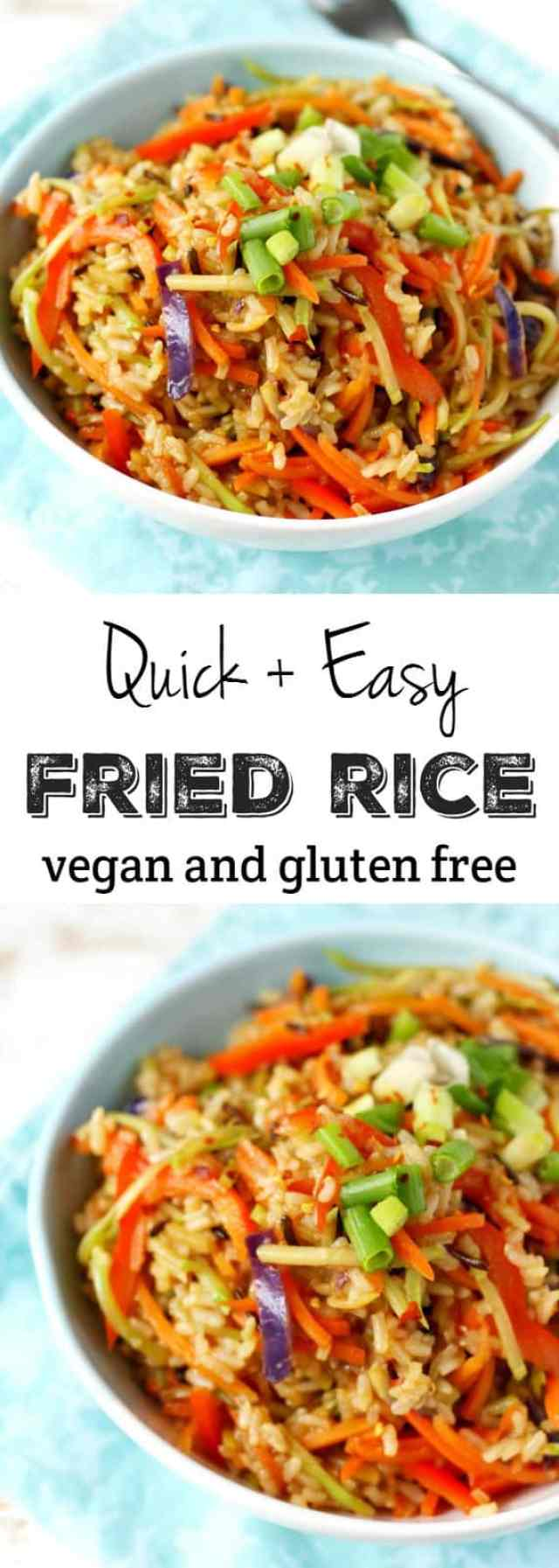 Quick and easy gluten free and vegan fried rice. An easy meal for busy days.
