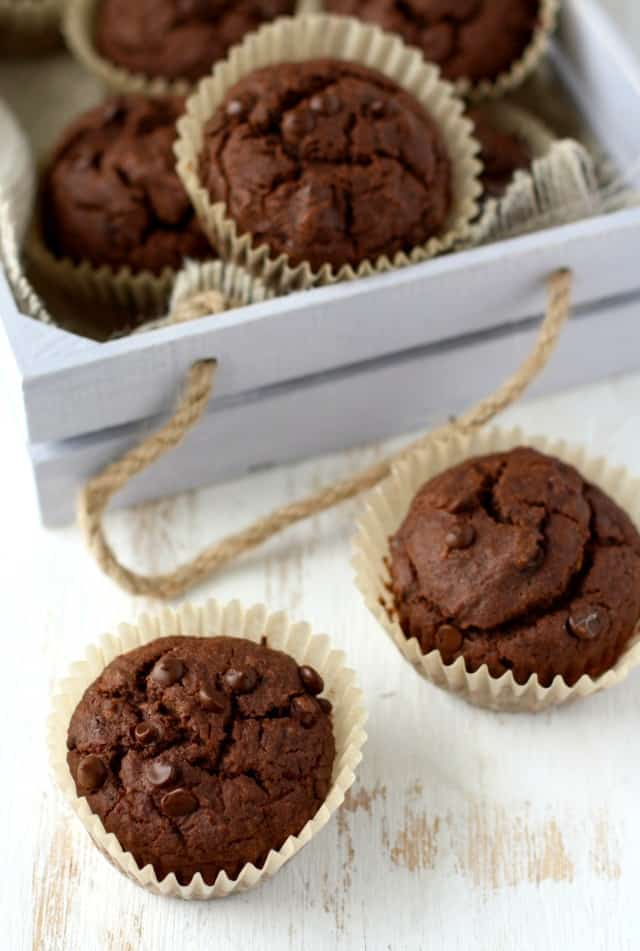 These double chocolate muffins have a secret healthy ingredient - red lentils! These muffins are a great after school snack!