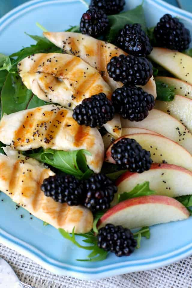 Now, I love my blackberries - I love to bake with them, and I love to eat them by the handful! But I decided to try something a little different this time. I decided to try them in a savory recipe. I was so glad I did! These large, sweet, organic blackberries paired perfectly well with the crunchy apples, tender chicken, and lemon poppy seed dressing, all layered over a bed of spring greens.