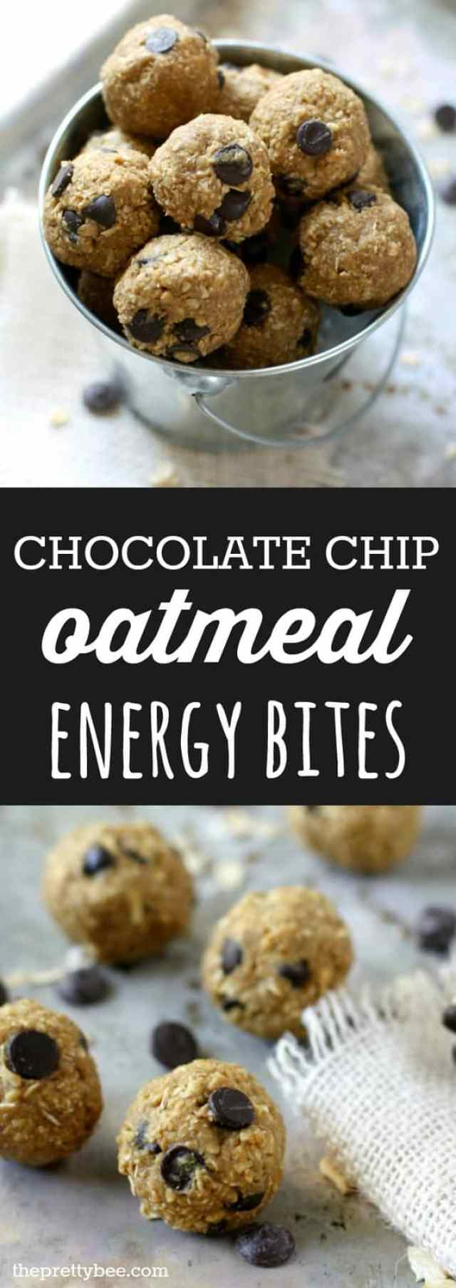 These no-bake chocolate chip oatmeal energy bites are a quick and delicious snack! Perfect for school lunches.