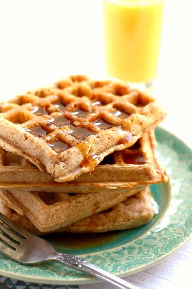 Deliciously light and fluffy egg-free vegan waffles! A perfect weekend breakfast.