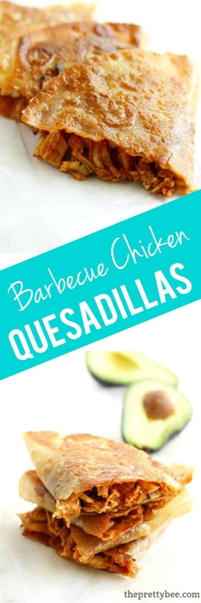 Crispy, melty, delicious barbecue chicken quesadillas. This dinner is perfect for busy nights!