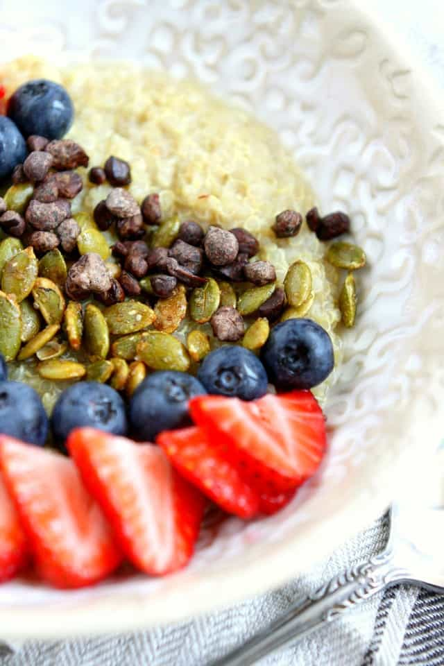 A delicious and healthy breakfast - quinoa porridge with mixed berries is a recipe the whole family will love!