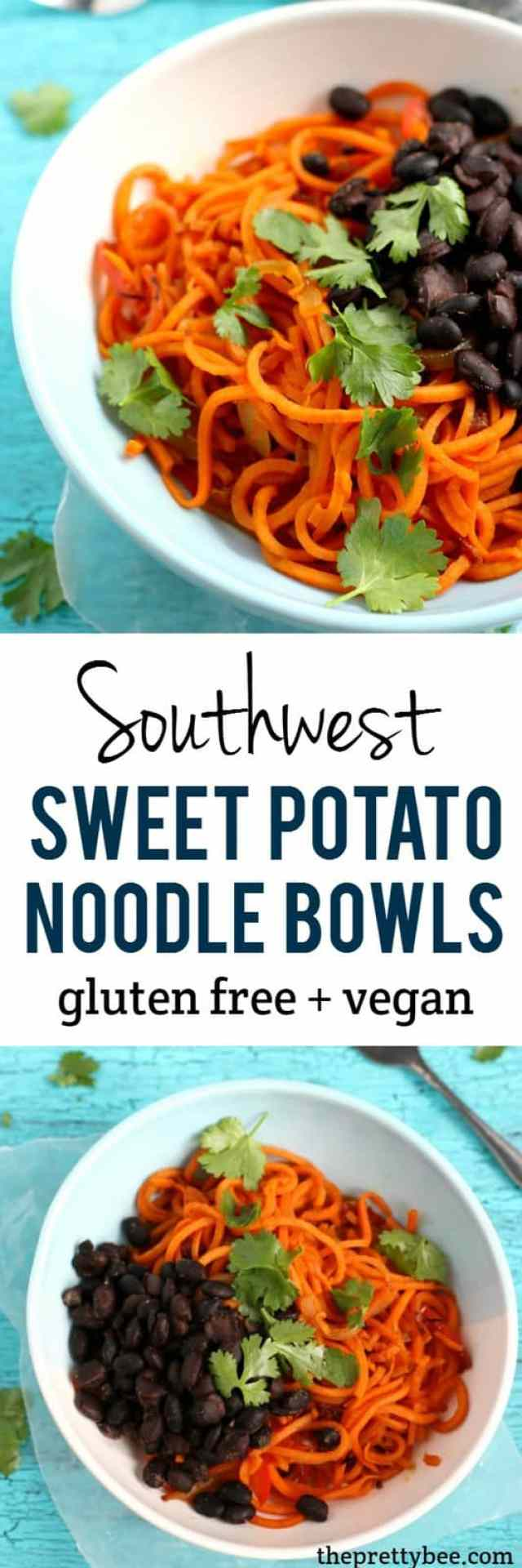 Fresh, flavorful, and colorful southwest sweet potato noodle bowls are a perfect dinner or lunch option!
