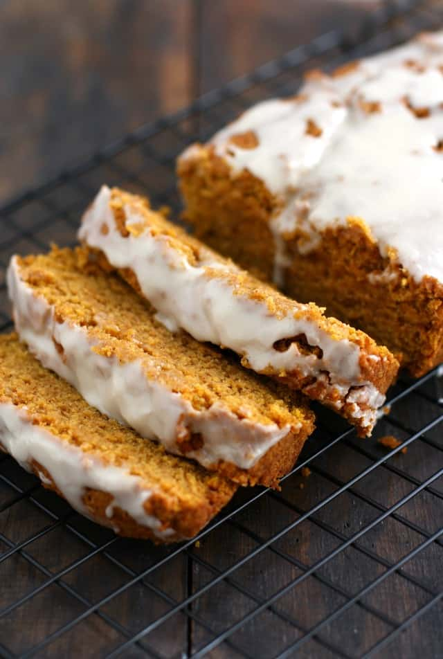 Gluten free and vegan iced pumpkin bread is a great fall dessert! Easy and delicious.