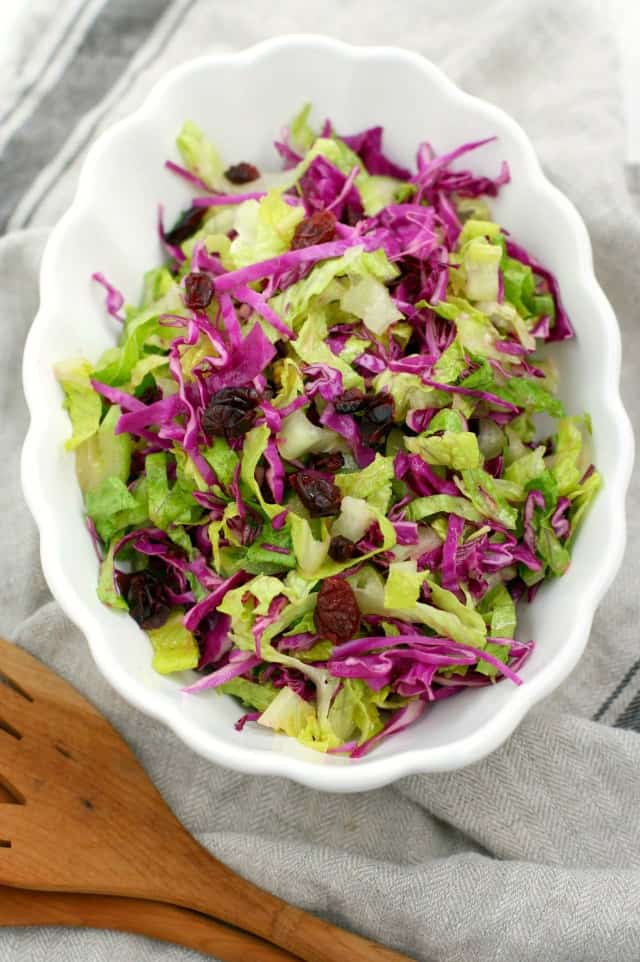 This crunchy green salad is full of flavor from a tangy dressing. Just delicious!