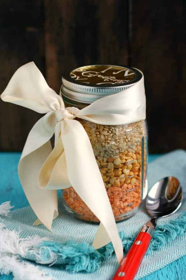 Curried lentil rice soup mix is a yummy gluten free and vegan gift to make and give!