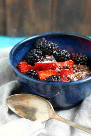 Chocolate quinoa breakfast cereal is a tasty and healthy gluten free and dairy free breakfast.