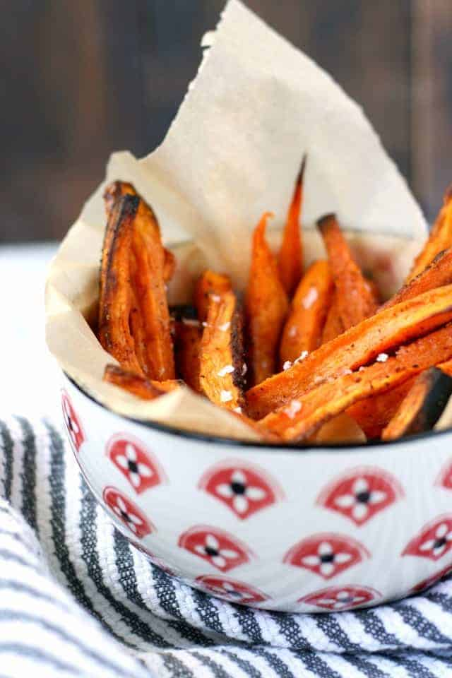 Baked sweet potato fries are gluten free and delicious! An easy, comforting recipe.