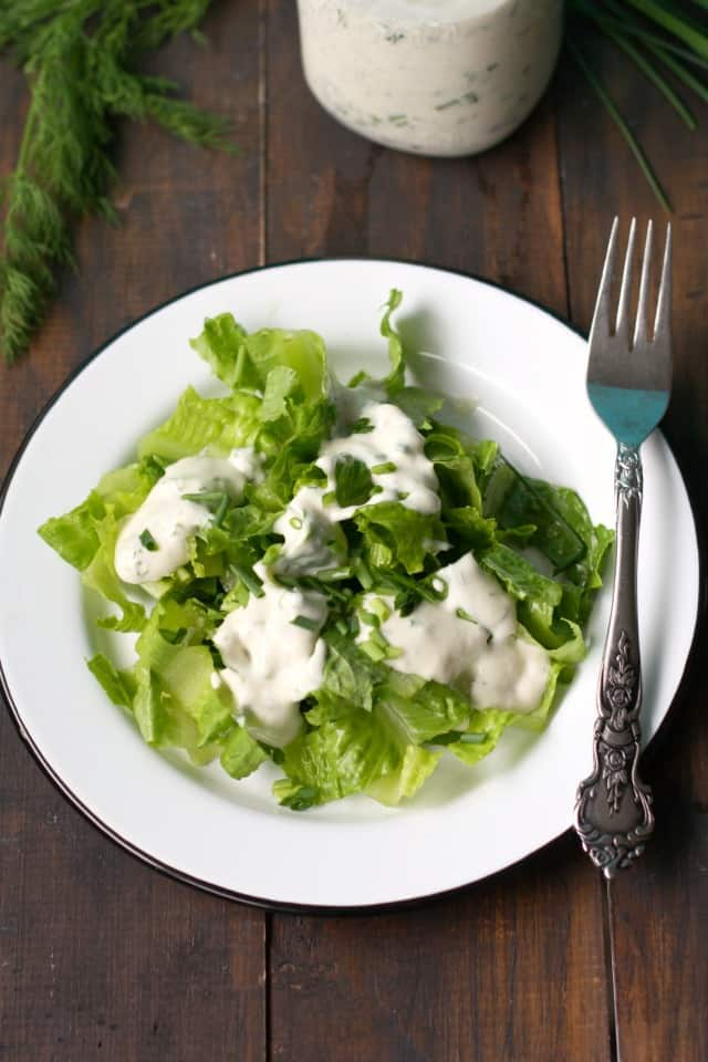 Homemade dairy free ranch dressing is perfect for topping salads or for dipping veggies! Creamy and delicious.