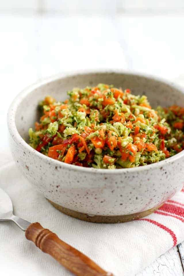 chopped veggie salad with broccoli
