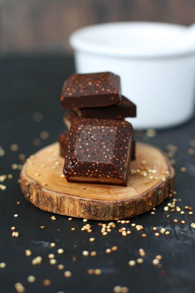 dark chocolate with toasted quinoa