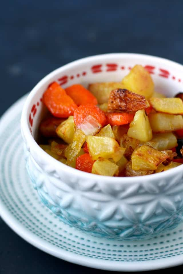potatoes with carrots and onions