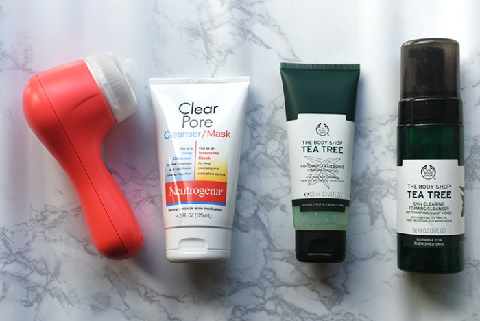 skincare, beauty, clear skin, oily skin, combination skin, the body shop, tea tree, clarisonic, neutrogena