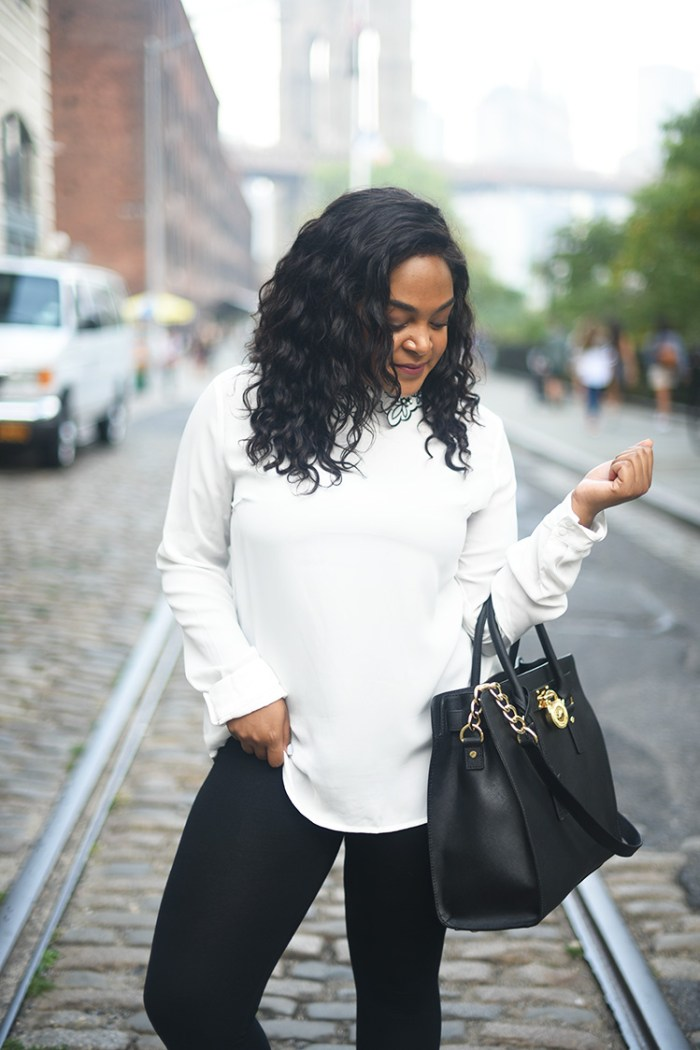 black and white, DUMBO, brooklyn, nyc blog, nyc blogger, collared shirt, how to wear, michael kore purse, affordable fashion