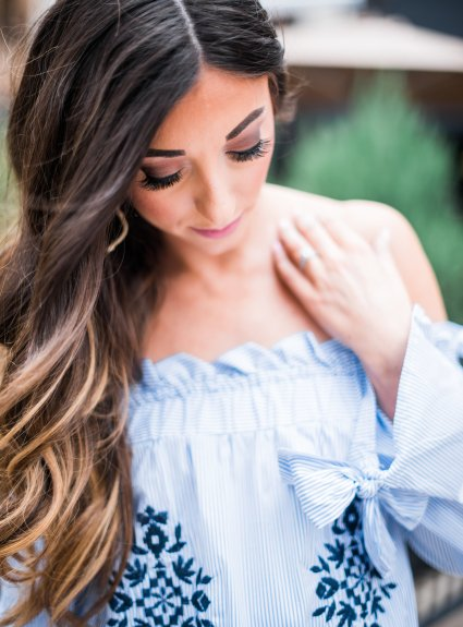 Spring Style: Blue & White Off The Shoulder Dress