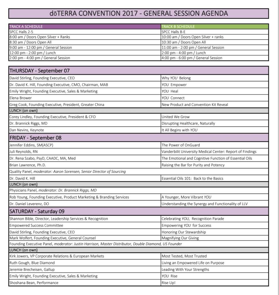 doterra convention 2017 schedule