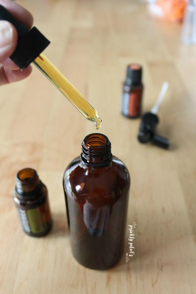 homemade all-natural throat spray made with doTERRA essential oils myrrh