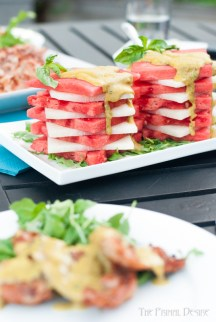 Saucy Watermelon Stacks - This summer Saucy Watermelon Stack will surprise you.  Accidentally discovering that this sauce is truly amazing on anything when the only thing left on my plate was a slice of watermelon and a dollop of sauce, it was obvious that it needed to be shared! https://wp.me/p4Aygm-2zO