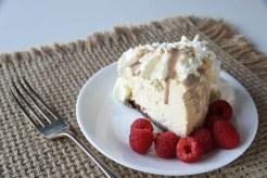 The dairy free Irish Cream on dairy-free cheesecake