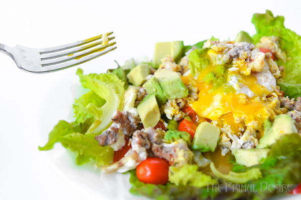 Breakfast salad with fork