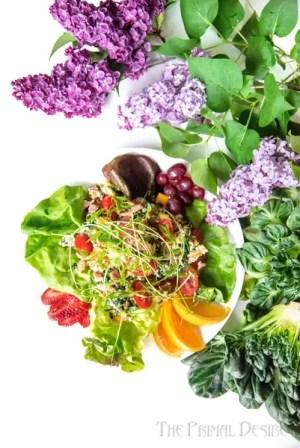 Breakfast salad on white table