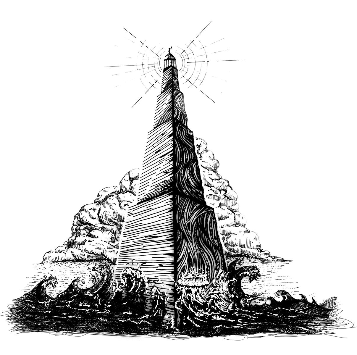 illustration,art,lighthouse,temple,Gregory B. Stewart