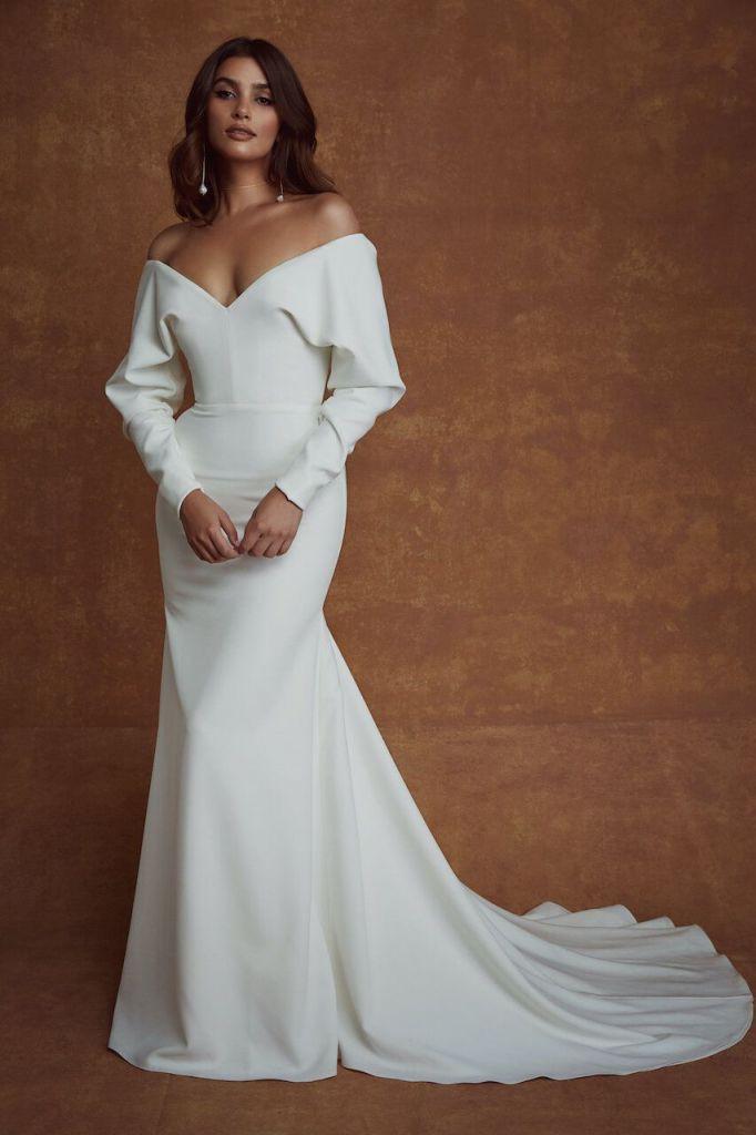 Long sleeve off shoulder crepe wedding gown