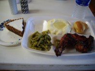 BBQ Chicken Meal, Complete with Shoe-Fly Pie