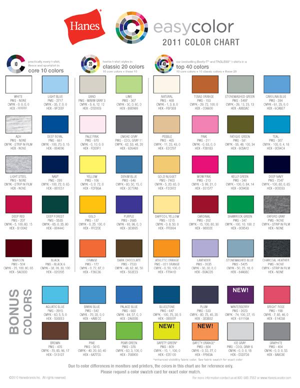 Hanes Pms Color Chart Siteandsite