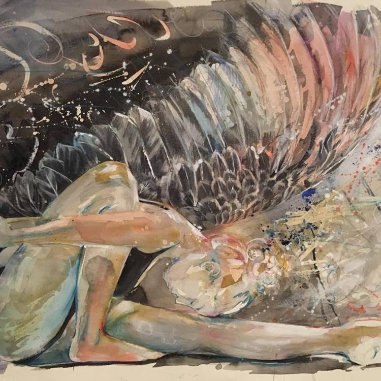 Painting dancer with swan wings