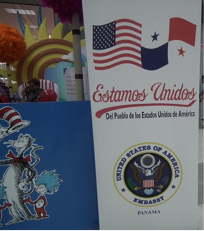 Children's booth at the USA Pavilion located at the International Book Fair in Panama in August of 2016
