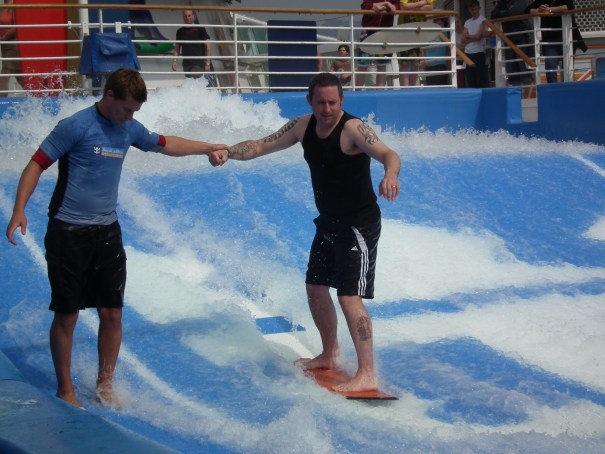 Passengers can learn to surf on many Royal Caribbean ships such as this one on the Independence of The Seas. THE PRIVATEER CLAUSE photo