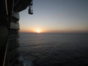 Celebrity Equinox sunset from balcony over the Mediterranean.
