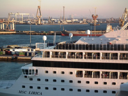 MSC Lirica heads to sea after stop at Cadiz, Spain. THE PRIVATEER CLAUSE photo