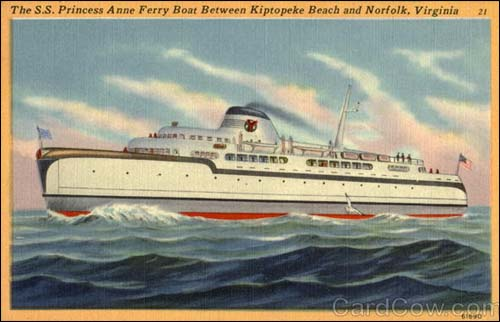 The Princess Anne car ferry operated from Norfolk to Eastern Shore