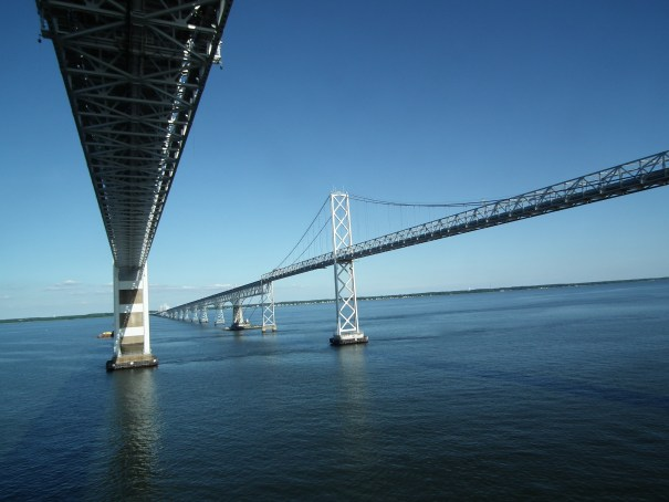 The Chesapeake Bay Bridge has plenty of traffic underneath as well as on top. THE PRIVATEER CLAUSE photo