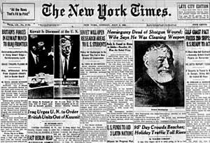 Hemingway Dead NY Times