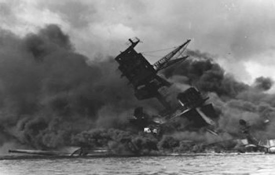 USS Arizona burning at Pearl Harbor