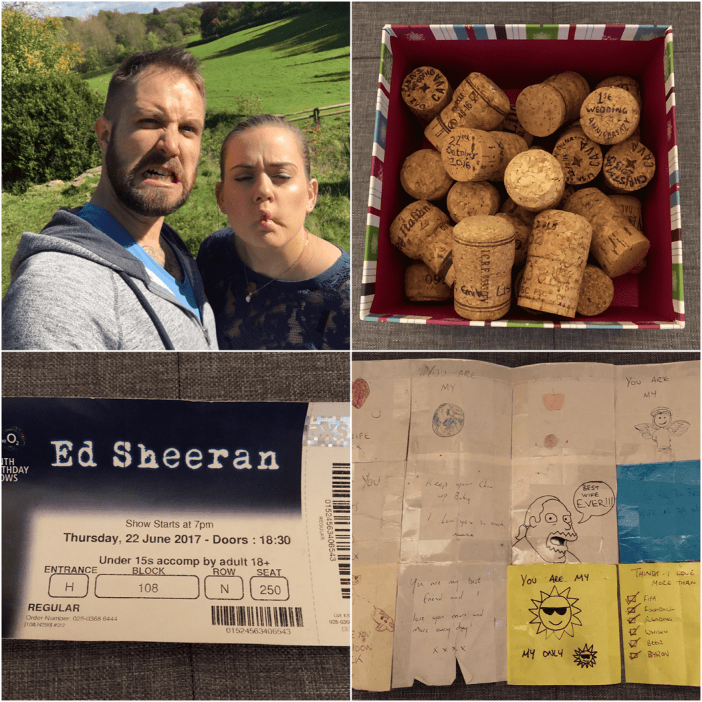 Collage of 4 photos from my happy memories box to distract from a panic attack. 1. of me and Daz pulling faces at the camera. 2. my box of corks. 3. Ed Sheeran ticket. 4. love notes from Daz - Putting Together Your Panic Attack Toolkit